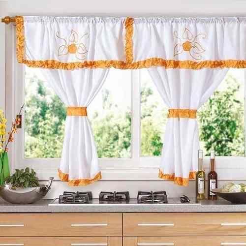 Cortinas para Cocina con Galera en Color Naranja