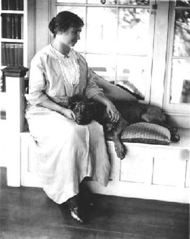 """Blind and deaf since the age of 19 months, Helen Keller was an inspirational writer and speaker, and one of the most admired figures in the 20th century. She was an avid animal lover and had many canine companions throughout her long life, including her beloved pit bull, Sir Thomas."""