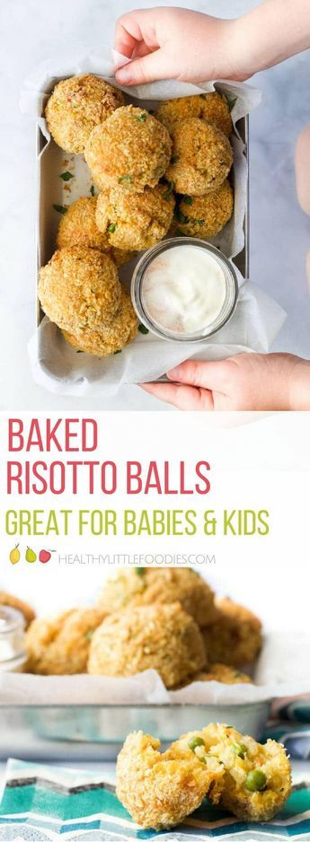 Baked risotto balls (baked arancini) are a great way to serve risotto to babies and kids. A great finger family food. #kidsfood #kidfood #blw #babyledweaning #risotto #arancini via @hlittlefoodies