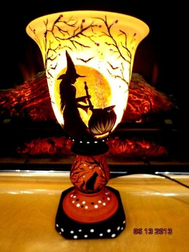 UNIQUE WITCHES BREW BLACK CATS HALLOWEEN* FIRE GLOW*TORCHIERE UP LAMP*
