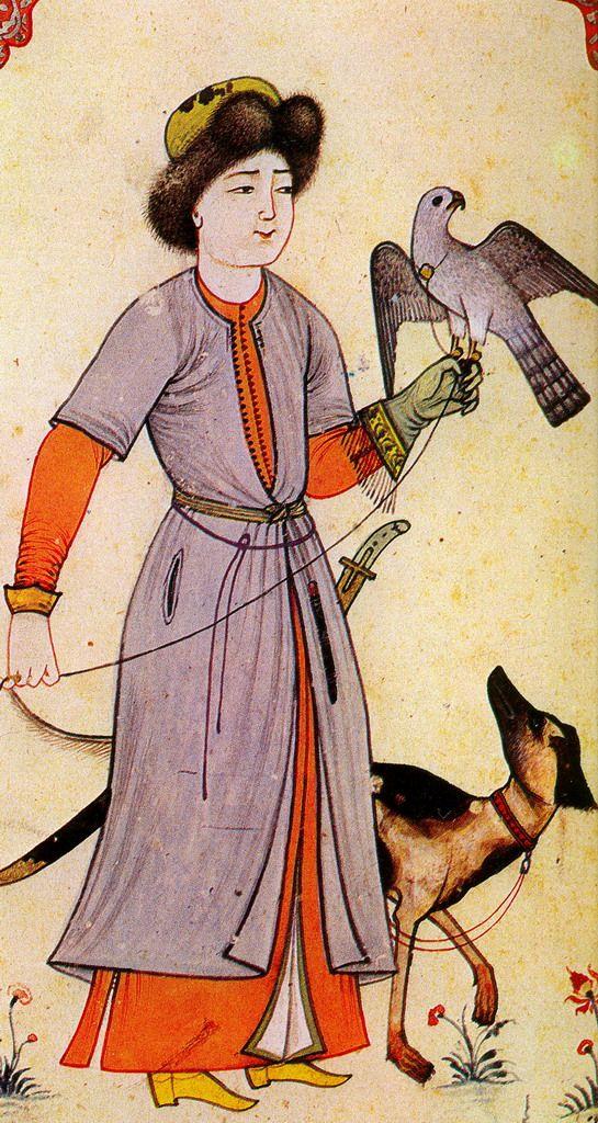 Minyatür: Avcı, tazısı ve şahiniyle. Levni (Levni, Albüm. Topkapı Sarayı Müzesi Kütüphanesi Hazine Kitap No. 2164)