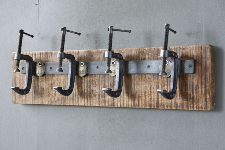Industrial Coat Hanger - The Hanger is a modern industrial set of wall mounted hooks, perfect for an entrance hall or office - updating the classic coat rack or hat stand. Made from vintage iron G-clamps, The Hanger brings a touch of contemporary design into the home, building upon the trend of reclaiming and re-purposing aesthetically interesting items. Buy now from wheresaintsgo.co.uk/ for £119.00.
