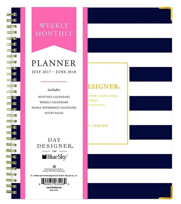 Best new planners for 2017 - 2018: Day Designer for Blue Sky 2017-2018 Academic Year Weekly & Monthly Planner - Navy Stripe Hardcover