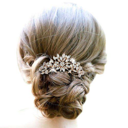 EVER FAITH® österreichischen Kristal künstliche Perle Blume Art Deco Blätter Haarkamm Haarschmuck klar Gold-Ton A13537-2: Amazon.de: Schmuck