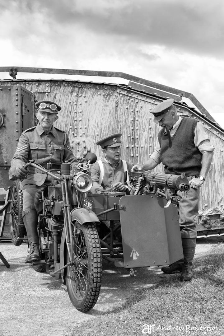 Replica WW1 Mark IV tank (Warhorse Movie) + WW1 Motorcycle and Machine Gun