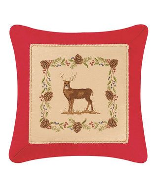 Deer Embroidered Throw Pillow