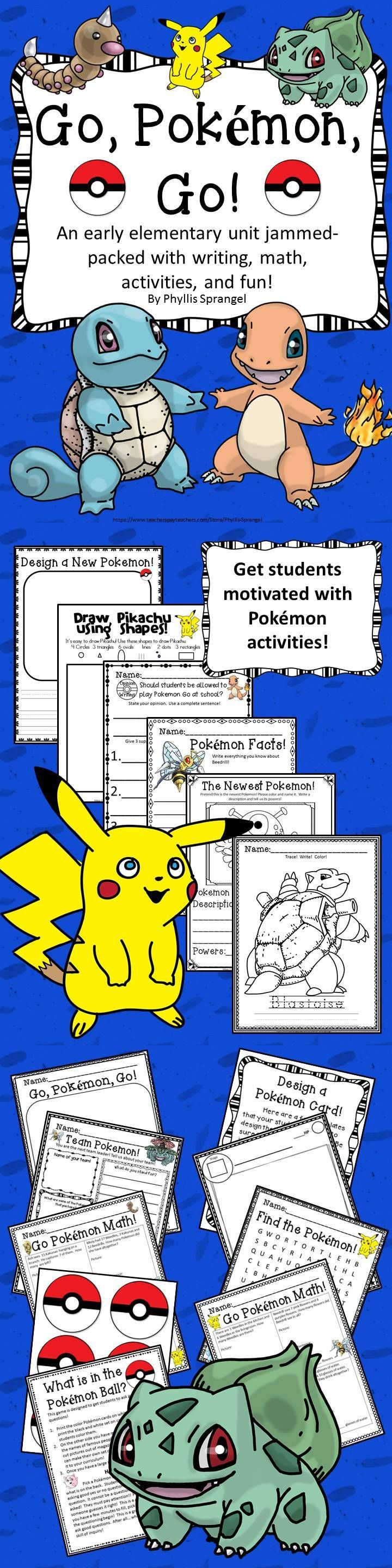 Get students engaged with these Pokemon activities! Writing! Math! Games! Lots of printables!