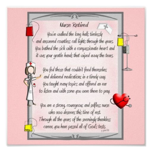 Free Nurse Retirement Poems | Retired Nurse Canvas Art Poem by Gail Gabel,RN Print from Zazzle.com