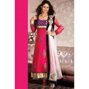 Pink Poly Georgette Anarkali Suit