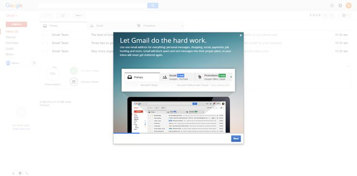Gmail gradient onboarding layer