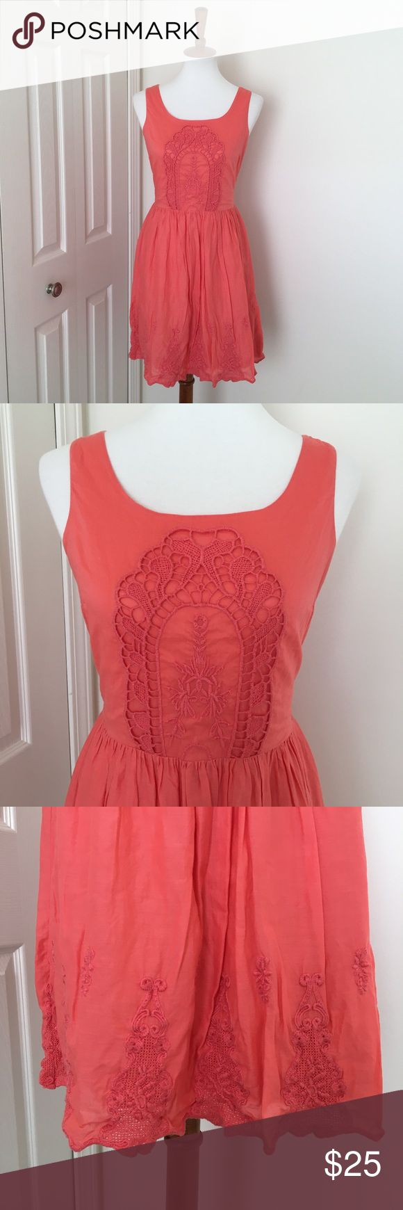 🆕Embroidered coral sundress Beautiful coral colored sundress with crocheted and embroidery detailing on the front and along the hem. Hidden back zipper. Excellent condition! NO TRADES! Old Navy Dresses