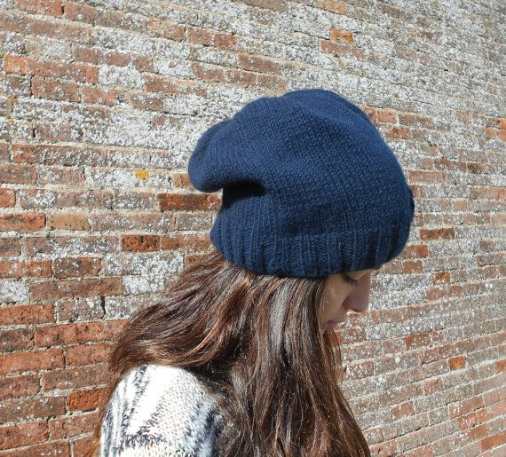 CASHMERE slouchy beanie  Hand knit Blue by LAlabastroCreazioni