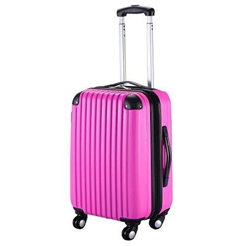 "Goplus New GLOBALWAY 20"" Expandable ABS Carry On Luggage Travel Bag Trolley Suitcase (Heart Pink)"