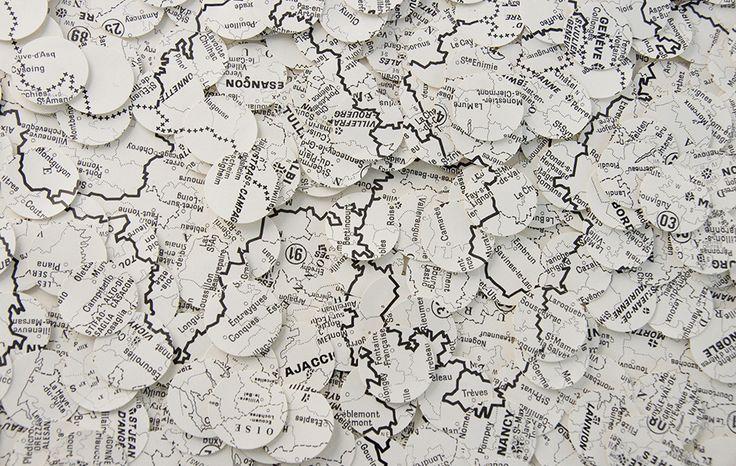 Papier de Maude Vautours Carte map noir blanc