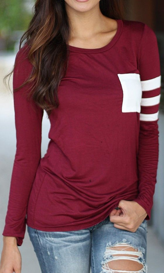 Red Print Long Sleeve Casual Cotton T-Shirt