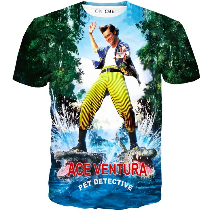 Checkout our sick Ace Ventura Animal Detective t-shirt. This t-shirt features Ace Ventura riding two alligators while holding his animal detective identification card out. In this movie Jim Carrie sea