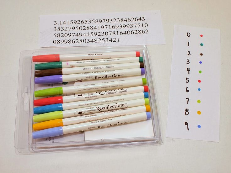 Print out the digits of Pi and create a color code