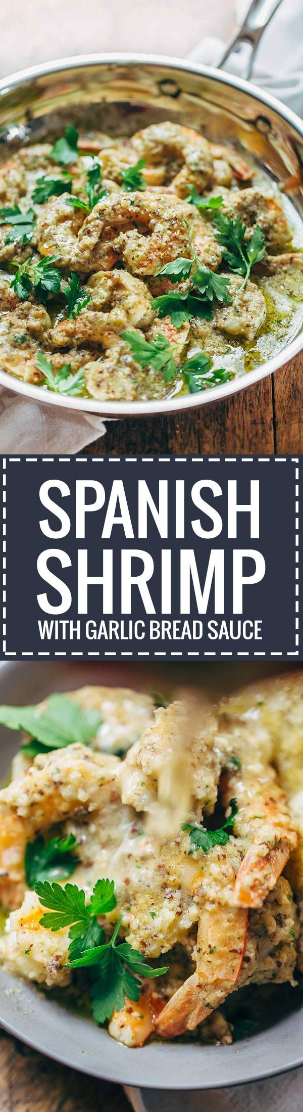 Spanish Shrimp in Garlic Bread Sauce - this recipe has the most yummy sauce made from almonds, garlic, olive oil, and bread crumbs. Our dinner guests raved!   pinchofyum.com