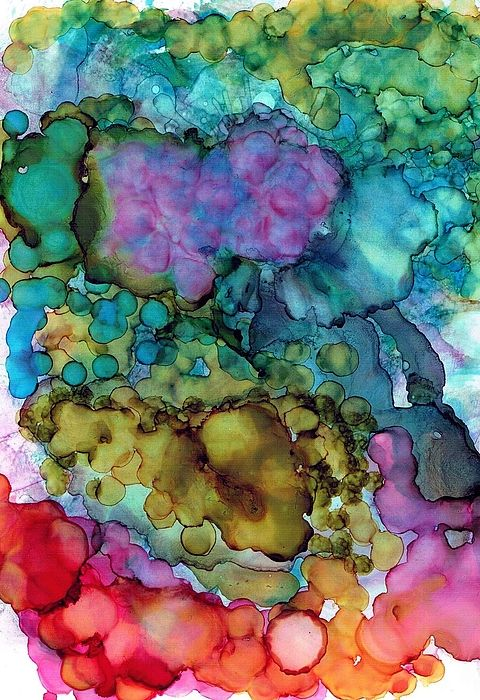 Alcohol Ink Painting - Blowing Bubbles by Christine Crawford