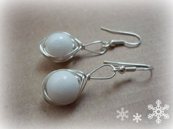 White Alabaster and Silver Wire Earrings by CatArtistic on Etsy