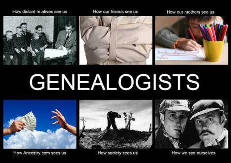 ¿Qué piensan los demás de los genealogistas?  Cómo nos ven los parientes lejanos / Cómo nos ven nuestros amigos nos ven / Cómo nos ve nuestra madre / Cómo nos ve Ancestry.com / Cómo nos ve la sociedad / Cómo nos vemos nosotros.