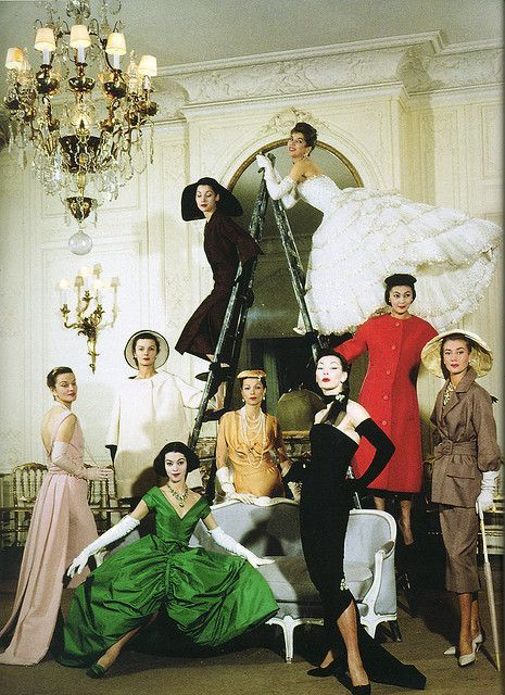 Dior house models in evening gowns by Christian Dior, Spring/Summer 1957