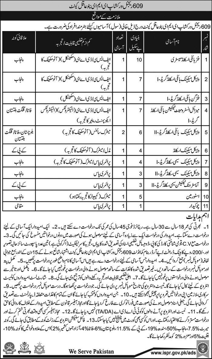 Pak Army Jobs 2018 for DAE, Technical, Skilled & Store-Man at 609