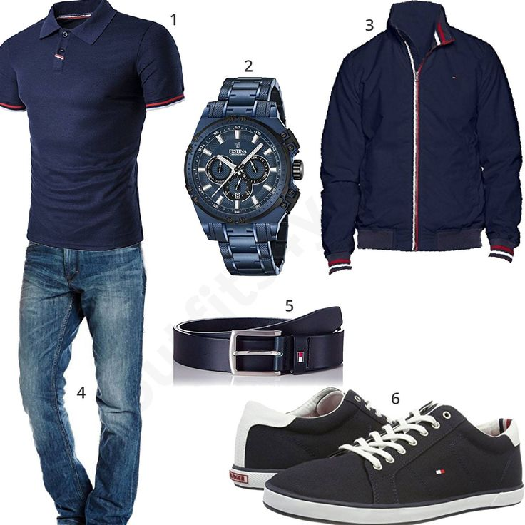 Dunkelblaues Outfit mit Poloshirt, Festina Chronograph, Tommy Hilfiger Jacke, Ledergürtel, Sneakern und blauer Jeans. #festina #chronograph #tommyhilfiger #style #outfit