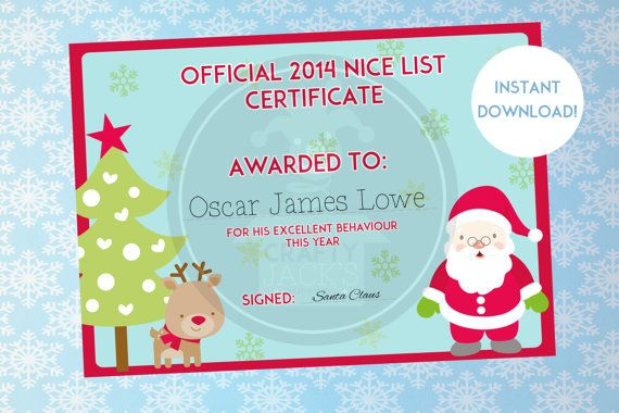 very cute for the little ones - Santa's Nice List Certificate  Christmas by CraftyJacksStudio