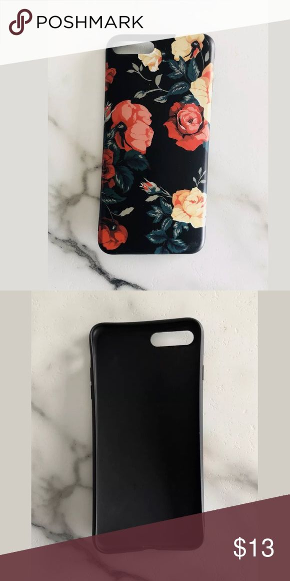 Iphone 7 Plus Black Matte Floral Phone Case Iphone 7 Plus Black Matte Floral Phone Case w/ 1 New Glass Screen Protector Good condition. Very cute!!  Check out my other items!! Accessories Phone Cases