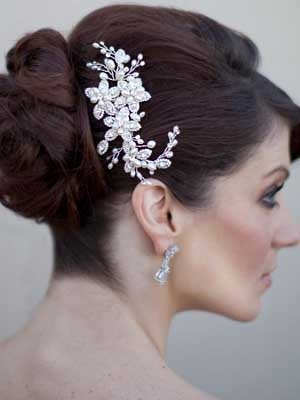 Pearl & Rhinestone Flower Comb by Hair Comes the Bride  www.HairComestheBride.com