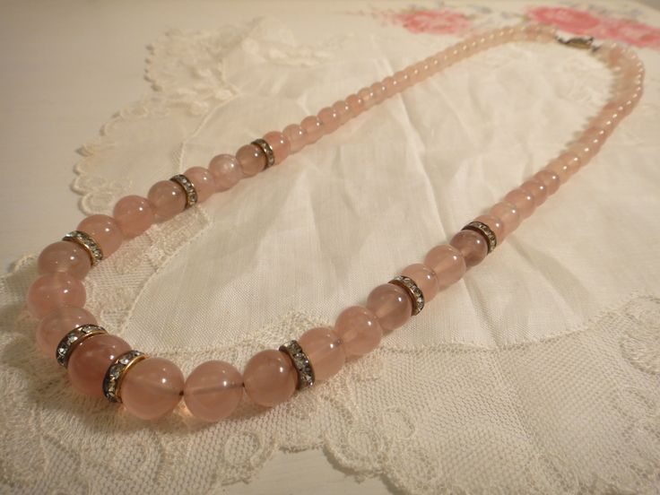 Rose quartz with silver clasp  This fabulous necklace has a new owner! #vintageprettythings SOLD!