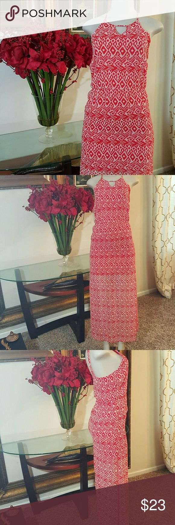 Gianni Bini (GB) Coral Maxi Dress size XS Gianni Bini (GB) Sheer Long Dress size XS in great condition please see pictures for overall condition  Offers Welcome.   Coral and White Gianni Bini Dresses Maxi