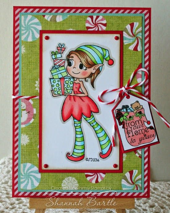 Whimsy Stamps card by Shannah Bartle using 'Cutie Elf' by Time 4 Tea Designs, 'Christmas Mini Gift Tags' and matching 'Mini Gift Tags Dies' by Raindrop Echo Designs.