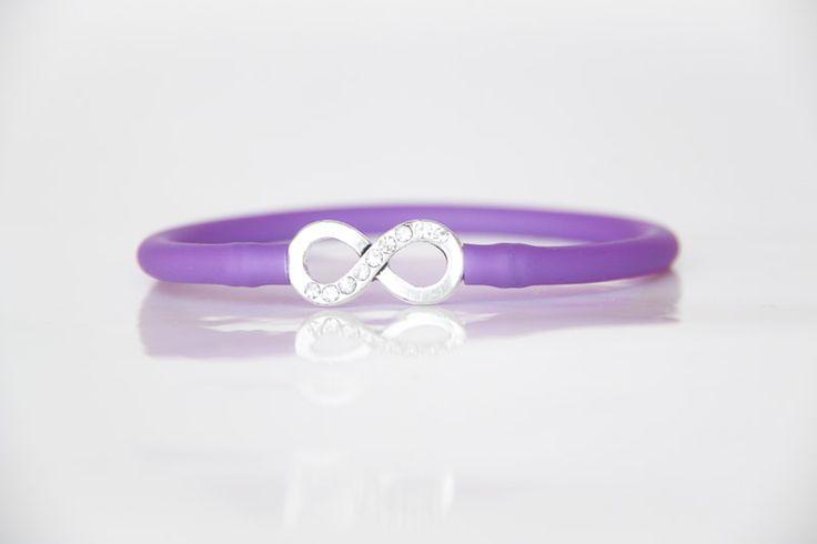 Diamante Infinity Bracelet with Purple Tube Strap - Teelee - A Bits & Bobs Brand