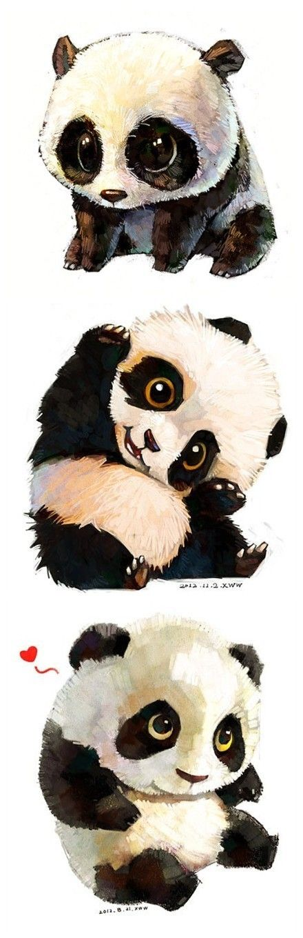 Healing snow doll painted watercolor illustrations of animals. Panda a group.
