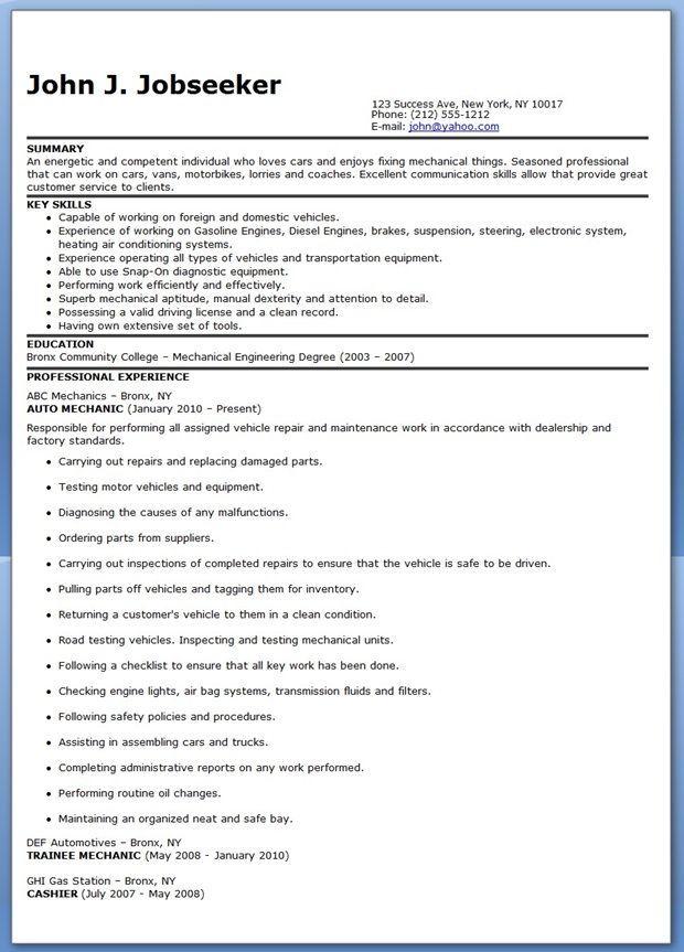 Auto Mechanic Resume Sample Free Resume Downloads Resume Examples Resume Resume Design Creative
