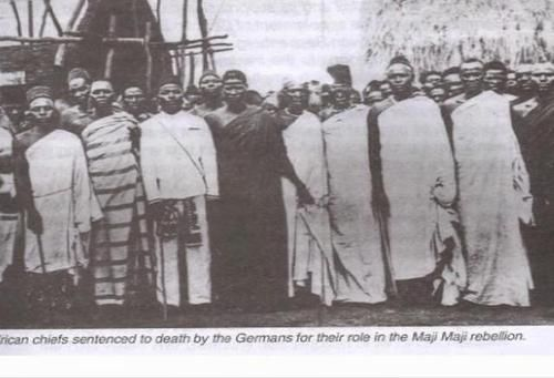 "[People Activity- War] ""African chiefs sentenced to death by the Germans for their role in the Maji Maji rebellion"" The Maji Maji Rebellion, lasting from 1905 to 1907, was an organized uprising initiated by several groups of African communities in the colonized territory of German East Africa against German colonial rule and German policy that forced them to grow cotton for export, profiting the German colonists."