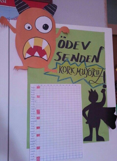 Ödev kontrol çizelgesi-homework control board