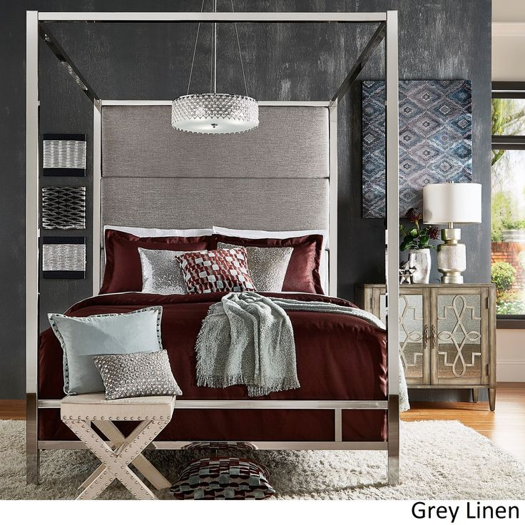 Evie Chrome Metal Canopy Bed with Linen Panel Headboard by iNSPIRE Q Bold (Queen Size - Grey Linen)