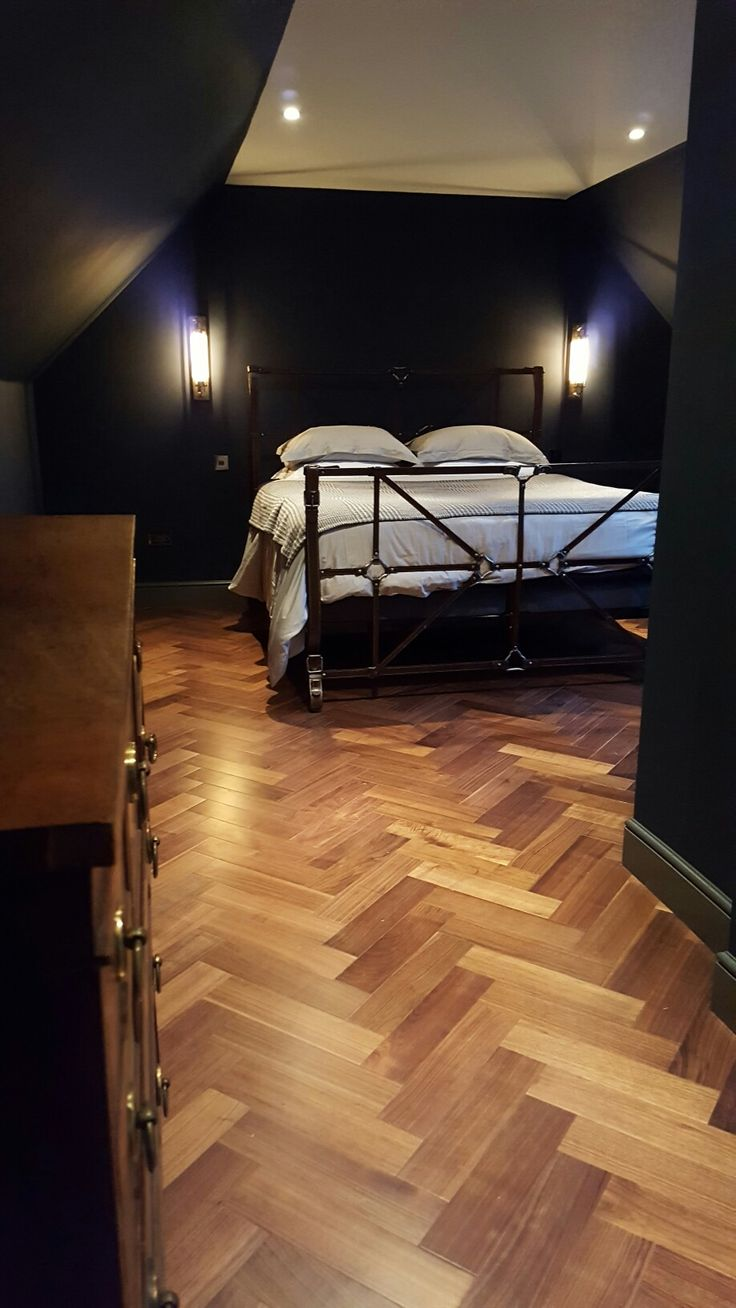 Flooring: Natura American Black Walnut Engineered Herringbone Parquet Walls: Antwerp Blue by Dulux Heritage Woodwork: downpipe by Farrow and Ball
