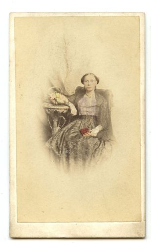 1860s WOMAN WITH BOOK HAND TINTED PHOTO CARTE DE VISITE FASHION LIDDIARD PORTSEA