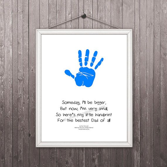 gift for dad hand print printable instant download art print wall decor 16x20 inches gray