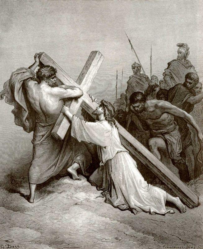 Поль Гюстав Доре. Иллюстрация к Библии: Несение креста