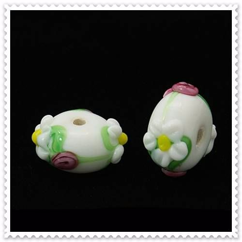 handmade lamp work beads bumpy flower abacus beads white size about 15mm in diameter 12mm thick