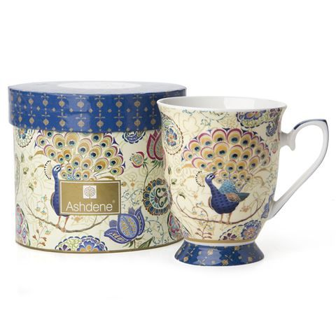 Ashdene - Peacock Fantasy Footed Mug Blue