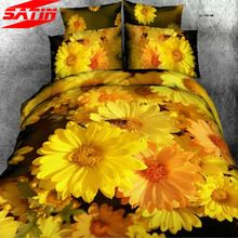 Queen size bedding set 4pcs 100%cotton 3d yellow sunflowers bed duvet quilt cover bedcover bedsheets comforter pillowcases linen