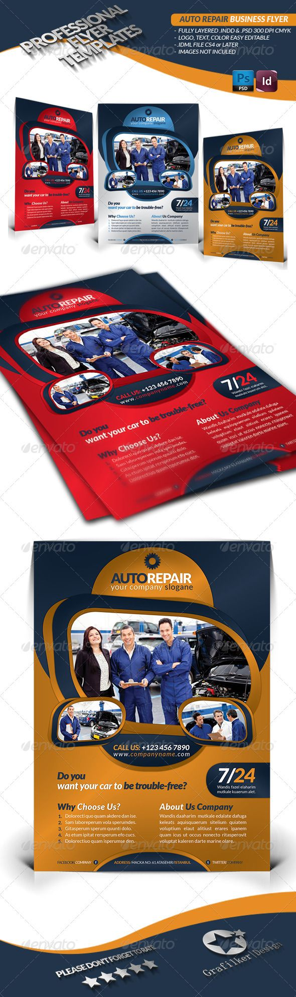 Auto Repair Business Flyer #GraphicRiver Auto Repair Business Flyer Fully layered INDD Fully layered PSD 300 Dpi, CMYK IDML format open Indesign CS4 or later Completely editable, print ready Text/Font or Color can be altered as needed All Image are in vector format, so can customise easily Photos are not included in the file Help.txt fonts in the file Help.txt file Created: 27November12 GraphicsFilesIncluded: PhotoshopPSD #InDesignINDD Layered: Yes MinimumAdobeCSVe...