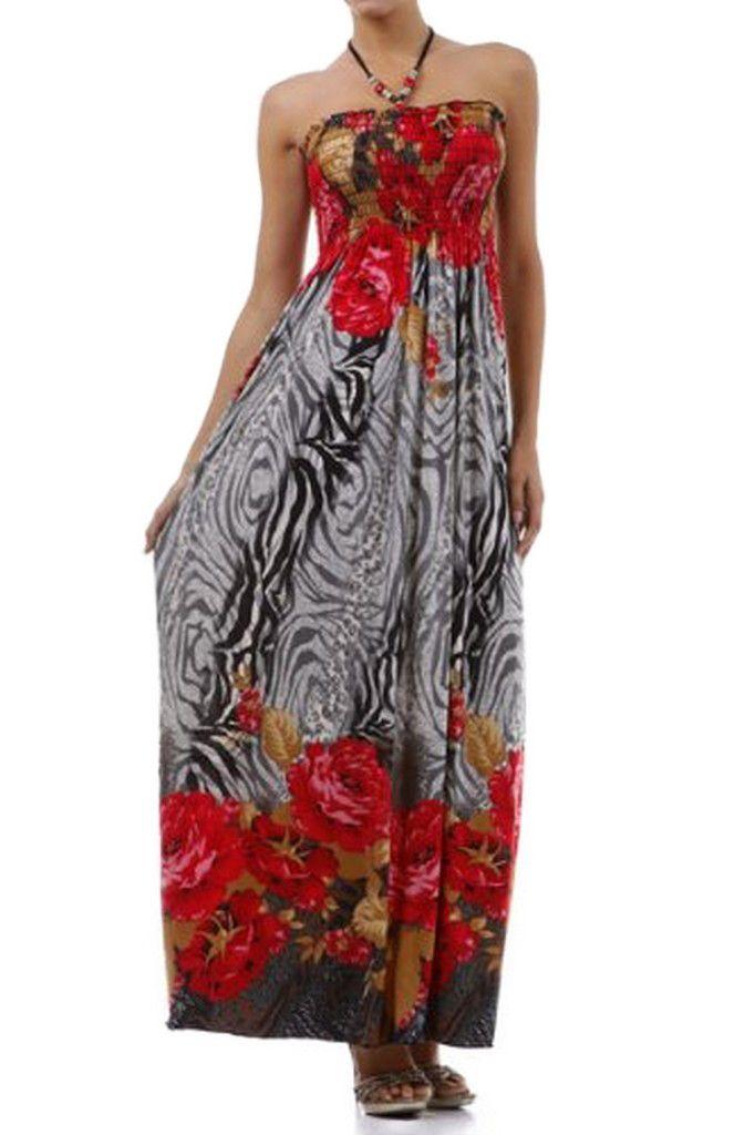 Rose and Zebra Graphic Print Beaded Halter Smocked Bodice Maxi / Long Dress