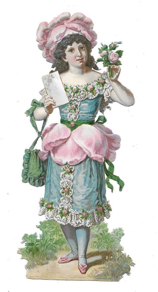 Victorian Die Cut Scrap Lovely Rose Lady: Victorian Die Cut Scrap Lovely Rose Lady